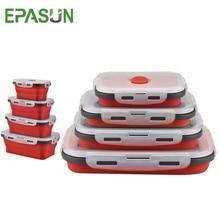 EPASUN silikonska zložljiva škatla Bento, zložljiva prenosna kosila za kosilo za jedilno posodo za hrano, posoda za hrano za otroke