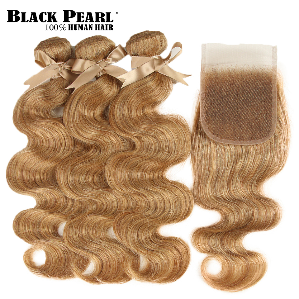 Black Pearl Malaysian Body Wave 3 Bundles With Closure Free Part Mix Color 27/30 Remy Human Hair Bundles With Closure