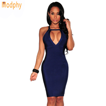2018 women sexy halter strap backless knee length celebrity bandage dress stretch bodycon club party tight Blue HL dress HL456