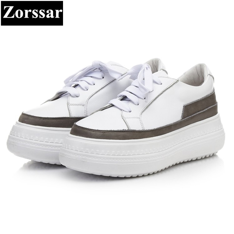 {Zorssar} 2018 New Fashion Genuine Cow leather Leisure Flat Women sneakers Casual shoes lace up Womens Flats platform shoes zorssar 2018 new patent leather flats platform women shoes casual flat pointed toe shoes female sneakers shoes student shoes