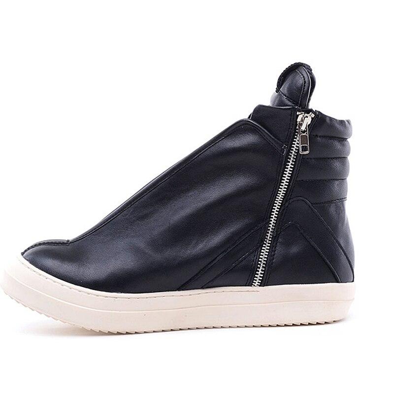 Hommes chaussures haut de gamme cheville baskets de luxe en cuir véritable hommes bottes mode noir rue Hip Hop chaussures Designer bottes - 4