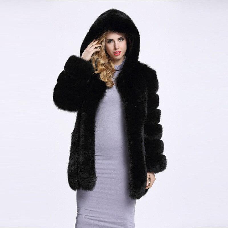 Beige Lady Lisa 4xl Manteaux Fausse Manteau Colly Manches Mode Automne Avec S noir Veste Hoodes ardoisé Fourrure De Hiver Femmes Longues UrU7q