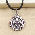 99Cents New Durable Black Faux Leather disc fleur de lis Cord Choker Charm DIY Necklace Pendant Retro Boho Tibetan Silver