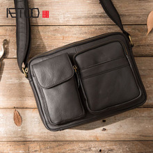 AETOO Leather small bag men's leather bag casual Korean version of the retro leather men's bag men's shoulder Messenger bag aetoo new leather leather korean version of the wave of shoulder bags simple leisure travel bag backpack