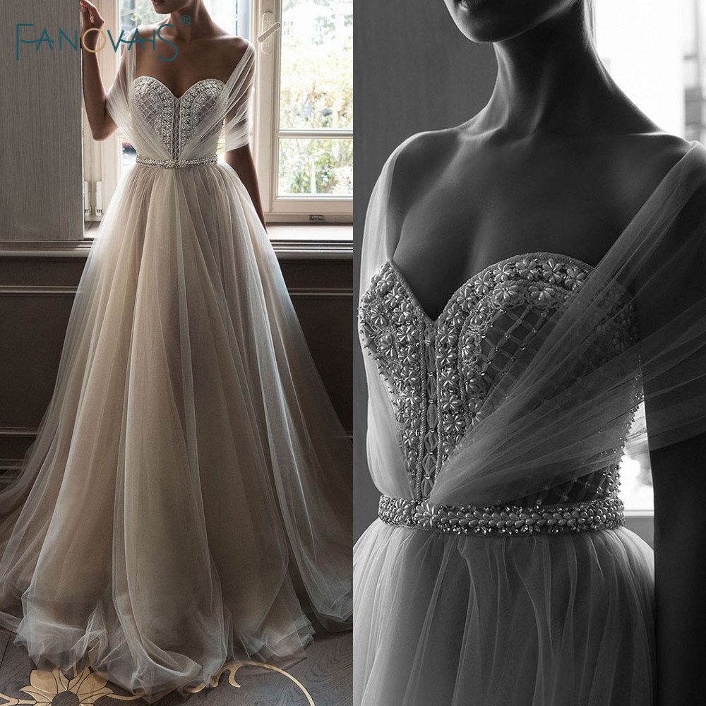 Elegant Wedding Dresses 2019 Off the Shoulder Champagne Wedding Gown 2019 Crystal Beaded Top Tulle Vetsido
