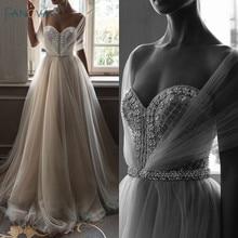 Elegant Wedding Dresses 2019 Off the Shoulder Champagne Gown Crystal Beaded Top Tulle Vetsido de Novia WN10
