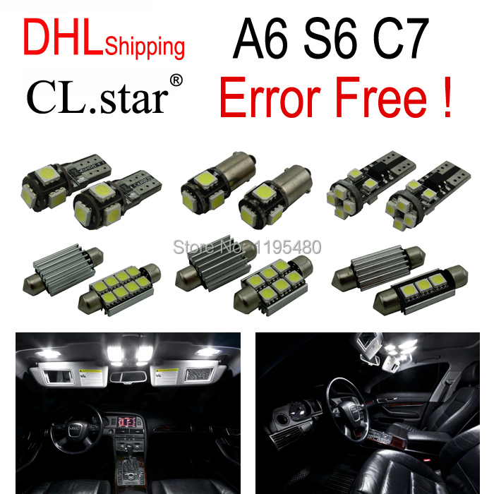 DHL shipping 16pc X canbus Error Free LED Interior Light Kit Package for Audi A6 S6 RS6 C7 Quattro (2012+) 11pc x canbus error free led interior light kit package for audi a6 s6 rs6 c6 quattro sedan 2005 2011 accessories lighting bulbs
