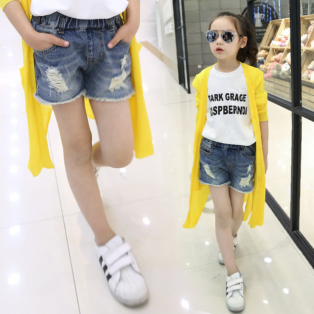 d6e2a769435 4-12 Years Kids Wear hole jeans Shorts fashion Girls blue Color Elastic  Waist leggings denim pants school style