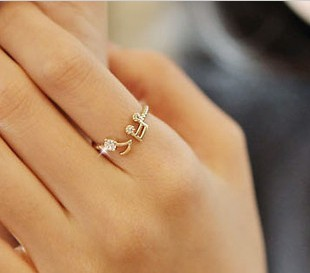 popular accessories Women rhinestone notes thread adjustable ring openings finger ring