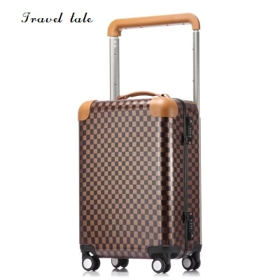 Travel tale fashion grid 20/22 inch size ABS+PC Rolling Luggage Spinner brand Travel Suitcase travel tale color stitching