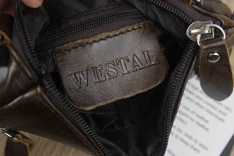 WESTAL Messenger Bag Men's Shoulder Genuine Leather bags Flap Small male man Crossbody bags for men natural Leather bag M701 23