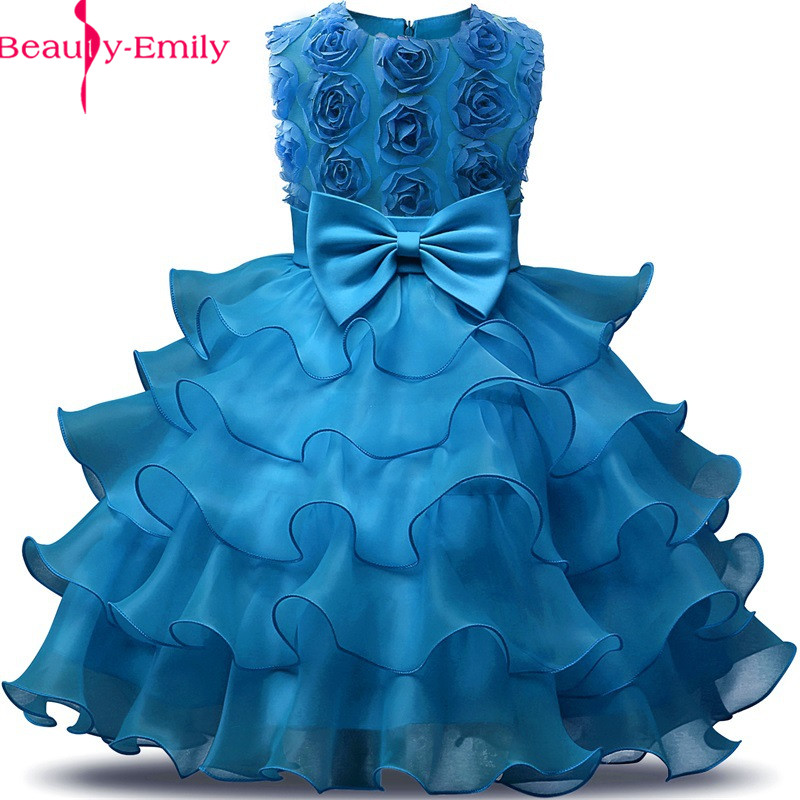 New Arrival 8 Colors O Neck 3D Appliques   Flower     Girls     Dress   with Bow Fashion Lace Tiered First Communion   Dresses   for   Girls