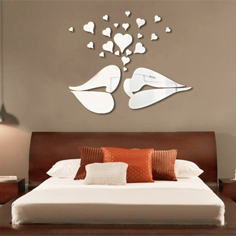 Silver 3d mirror style lips hearts decal art mural wall stickers silver 3d mirror style lips hearts decal art mural wall stickers home bedroom office decor decoration decals in wall stickers from home garden on amipublicfo Gallery