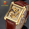 Gold Skeleton Automatic Mechanical Watch Top Brand OUYAWEI Luxury Men's Watch Square Business Wristwatch reloj hombre Kol Saati