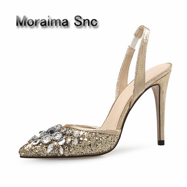 Moraima Snc Bling Bling Glitter Wedding Heels Pointed Toe High Heel Shoes Sexy Crystal Embellished Thin Heels Shoe for Woman chigo high power hand held vacuum electric cleaner for home household small mini vacuum cleaner dust catcher zg x02a