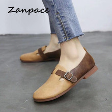 Zanpace 2019 Ballet Flats Retro Buckle Strap Oxford Shoes Women Casual Low Mary Jane Shoes Spring Mother Ladies Lether Shoes все цены