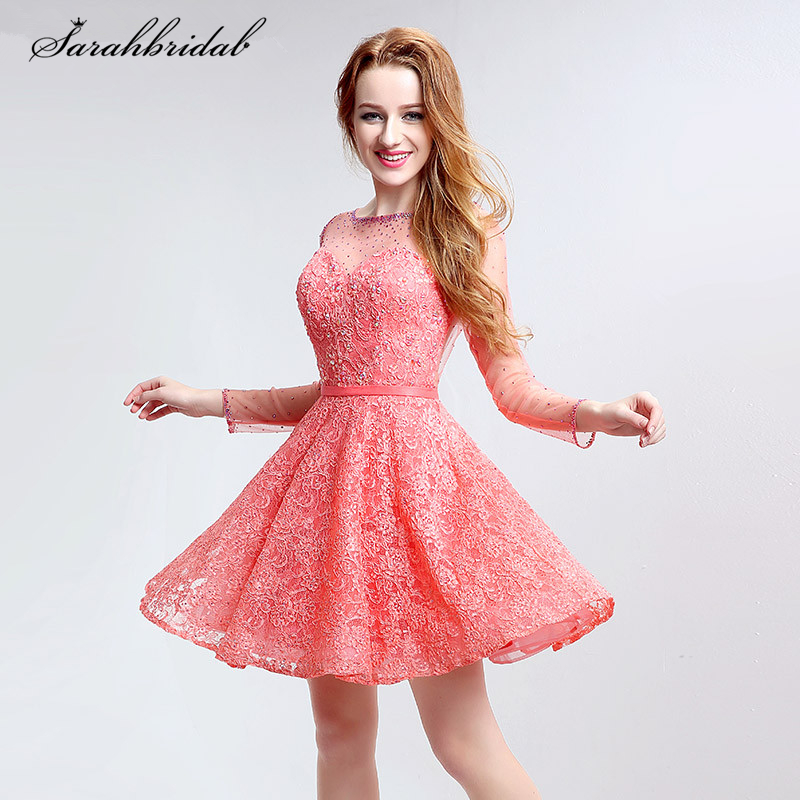 Sexy Long Sleeve Sheer Short   Prom     Dresses   Crystal Lace A-line Party Gowns Cut Back Robe De Soiree Courte LSX120