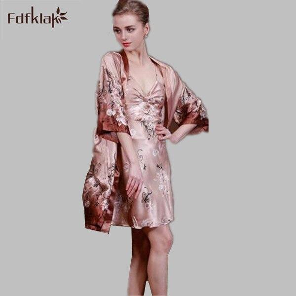 Femmes peignoir soie satin robes robes de chambre pour les femmes sexy robe de bain 2 pièces vêtements de nuit féminins impression soie robe ensemble Q955