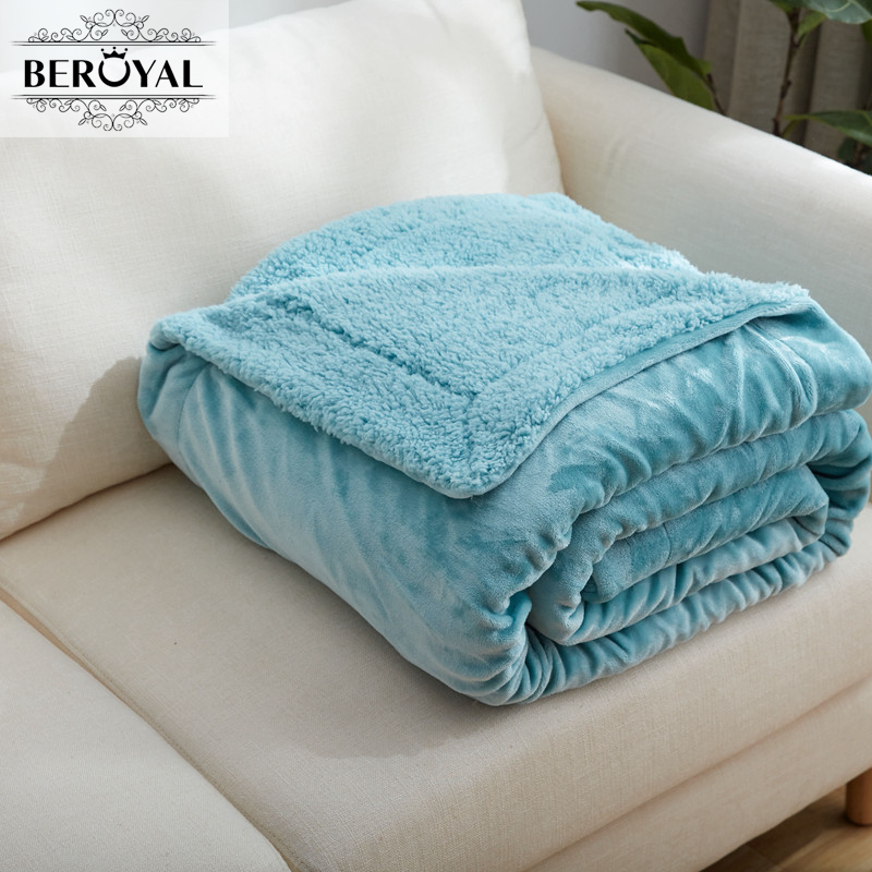 Beroyal 2017 Cashmere Bedding Sleep Blanket Luxury Soft Warm Throw Blankets  Quilt Sofa Bed TV Multiple Color