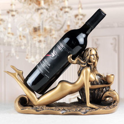Resin Beauty Figurines Decorative Wine Bottle Holder Funiture Awesome Decorative Wine Bottle Holders