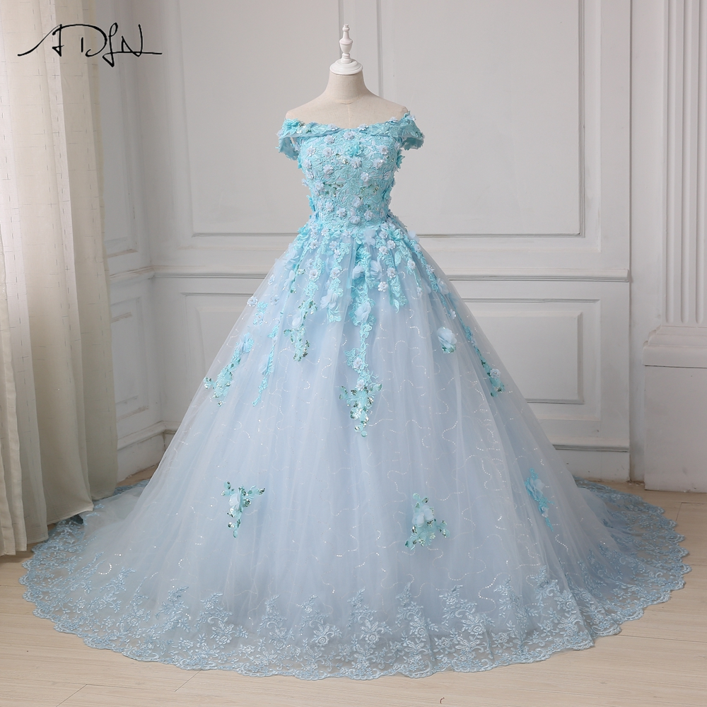 ADLN Robe De Mariage Princess Luxury Flowers Sequined White Ball Gown Wedding Dress Custom Made Vestido