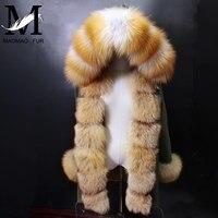 Winter Real Fur Parka Women Long Jacket New Real Rabbit Fur Liner Coat Thick Big Fox Fur Collar Hooded Coat Natural Fur Parka