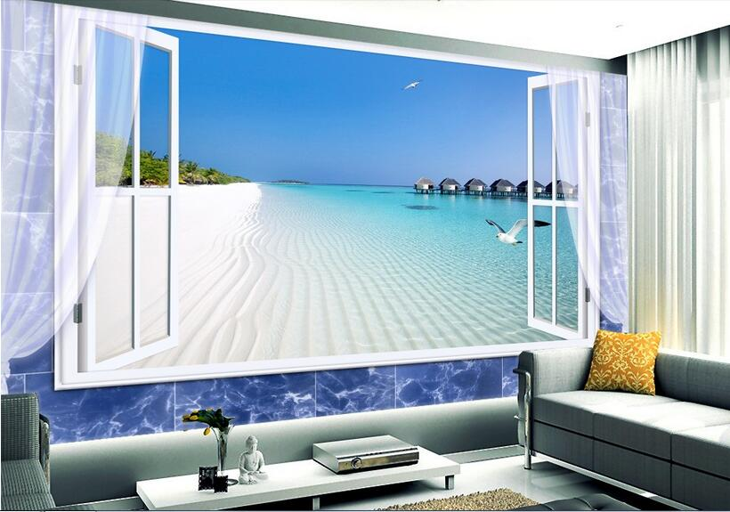 3D room wallpaper high-end custom mural non-woven wall sticker 3 d Sea view outside the window  photo wallpaper for walls 3d custom baby wallpaper snow white and the seven dwarfs bedroom for the children s room mural backdrop stereoscopic 3d