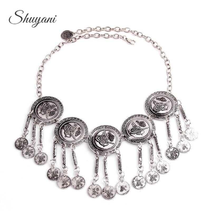 2016 moeda Antiga corrente de prata colar colar gargantilha Colares  declaração   Pingentes jóias bijoux mulheres collane e ciondoli 765cde362e