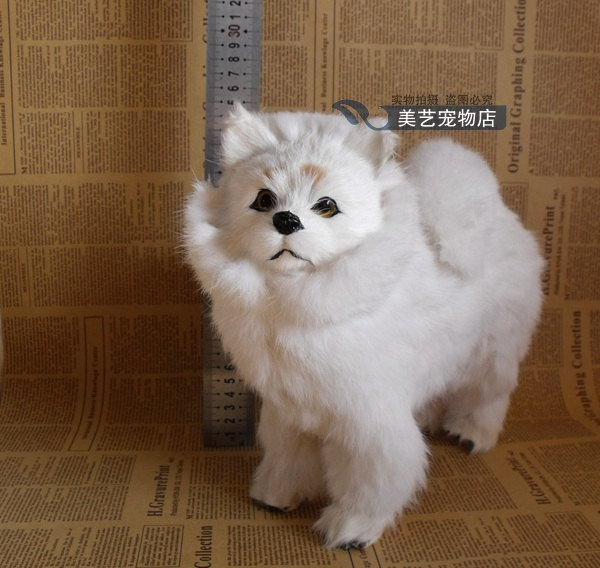 simulation Pomeranian model,polyethylene&fur large 28x12x25cm white Pomeranian handicraft toy home decoration Xmas gift b3849
