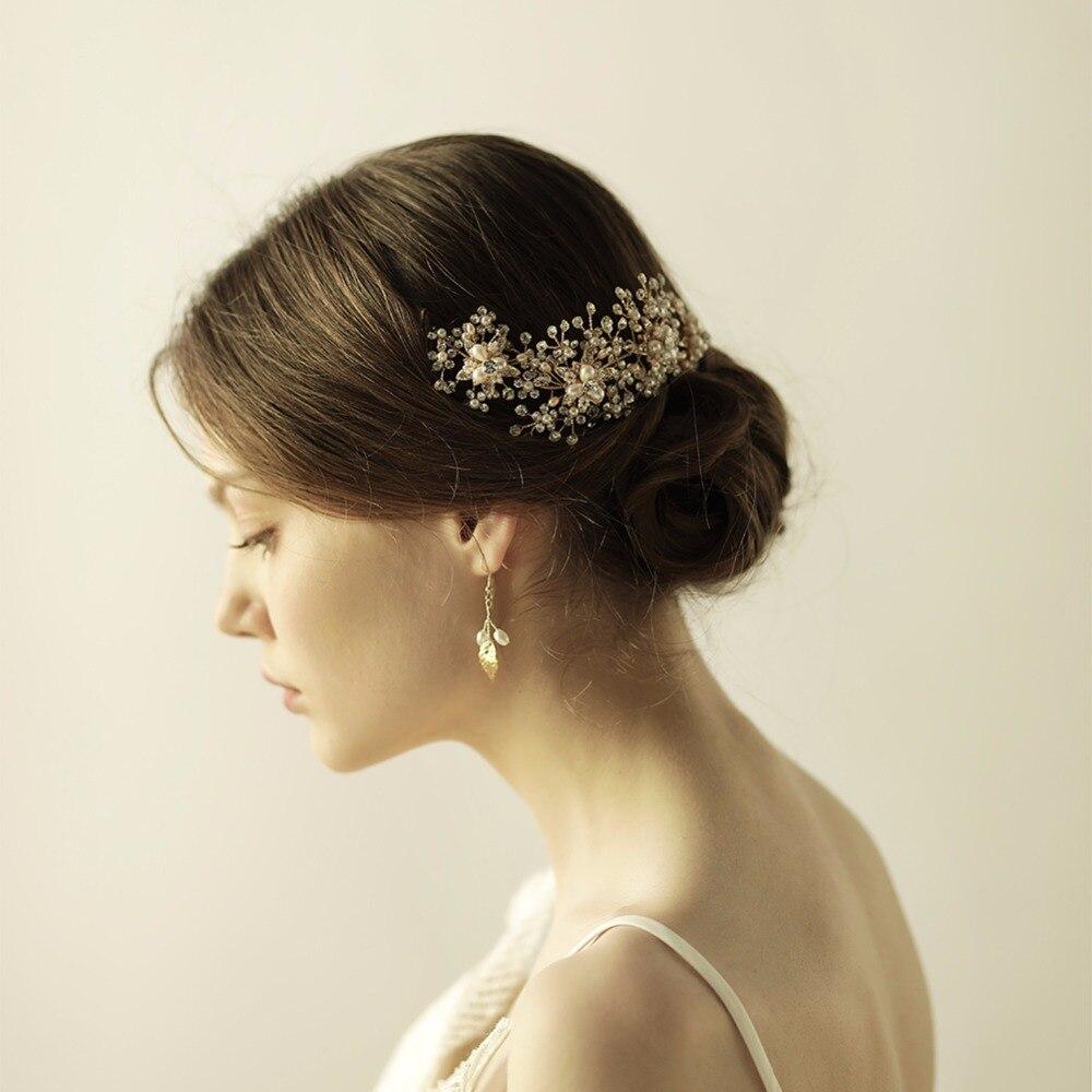 Women Rhinestones Headbands Handmade Hair Wear Marriage Hair Bands Wedding Accessories Bride Headdress Gold Floral O855