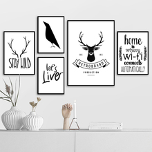 Black White Deer Head Bird Home Quotes Wall Art Canvas Painting Nordic Posters And Prints Wall Pictures For Living Room Decor girl bird feather quotes wall art canvas painting nordic posters and prints black white wall pictures for living room home decor