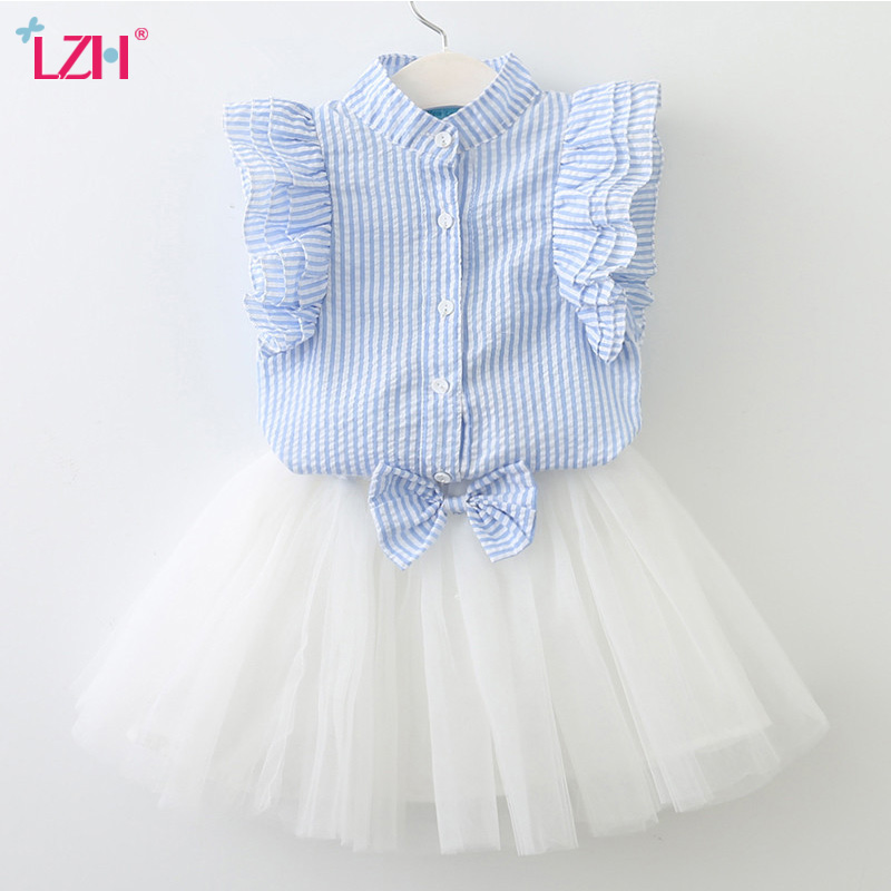 LZH Children Clothing 2018 Summer Girls Clothes Striped T-shirt+Skirt 2pcs Outfit Kids Girls Sports Suit For Girls Clothing Sets summer baby boys clothing set cotton animal print t shirt striped shorts sports suit children girls cartoon clothes kids outfit