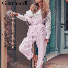 Glamaker Pink high waist loose trousers Women spring wide leg zipper sexy causal