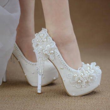 Zapatos para dama de honor, vestido de novia, encaje blanco, dulce borla de flores, zapatos para mujer, 6 cm, 8 cm, 11 cm, 14 cm, tacón alto, talla grande 43