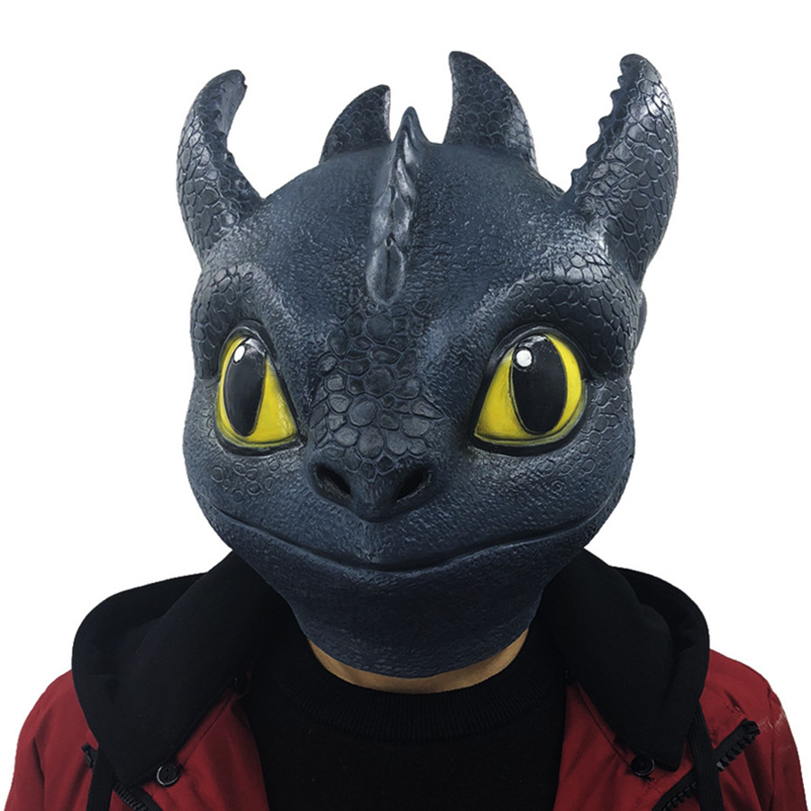 How to Train Your Dragon 3 The Hidden World Latex Night Fury Toothless Mask Christmas Halloween Carnival Cosplay Costume Props