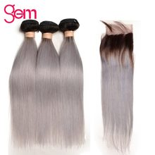 1b Grey Ombre Brazilian Straight Human Hair Bundles With Lace Closure Gray Hair Weave and Closure GEM Grey Remy Hair Extensions(China)