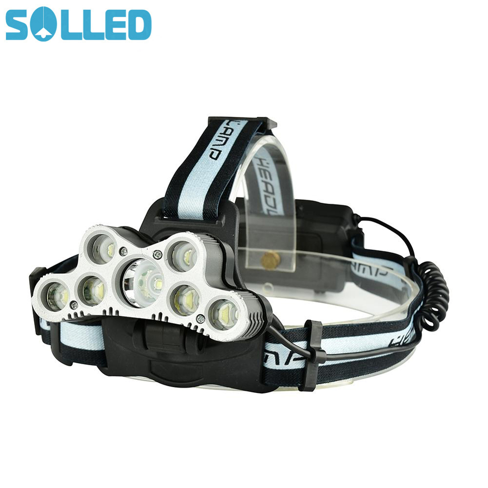 SOLLED Strong Light Headlamp with SOS Help-Calling Whistle USB Rechargeable for Outdoor Activity Hunting Fishing Caving
