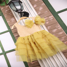 Baby Girls Tulle Lace Dresses Girl Party Dress Kids Girl Princess Bow Cake Dress 2016 Babies Children's Summer  style Clothing