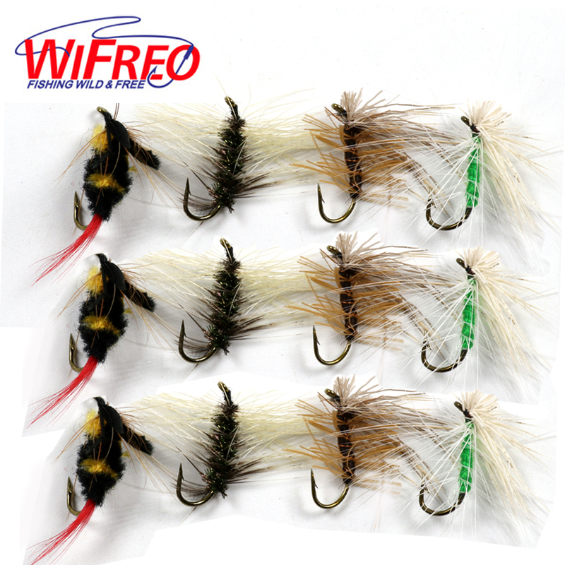 Wifreo 12PCS/Box Fly Fishing Dry Fly Set Bumble Bee + Caddis Green Brown + Mosquito Gnat Flies Trout Fly Fish Lures #12 Hook 10pcs beadhead pm caddis 14 nymphs dry fly fishing trout flies