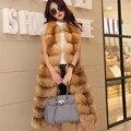 Besty настоящее red fox естественный цвет шерсти пальто женщин натуральная кожа леди длинный длина жилет без рукавов толстая зима весна жилет