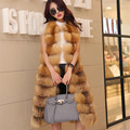 Besty real red fox natural color fur women coat genuine leather lady long length waistcoat sleeveless thick winter spring vest