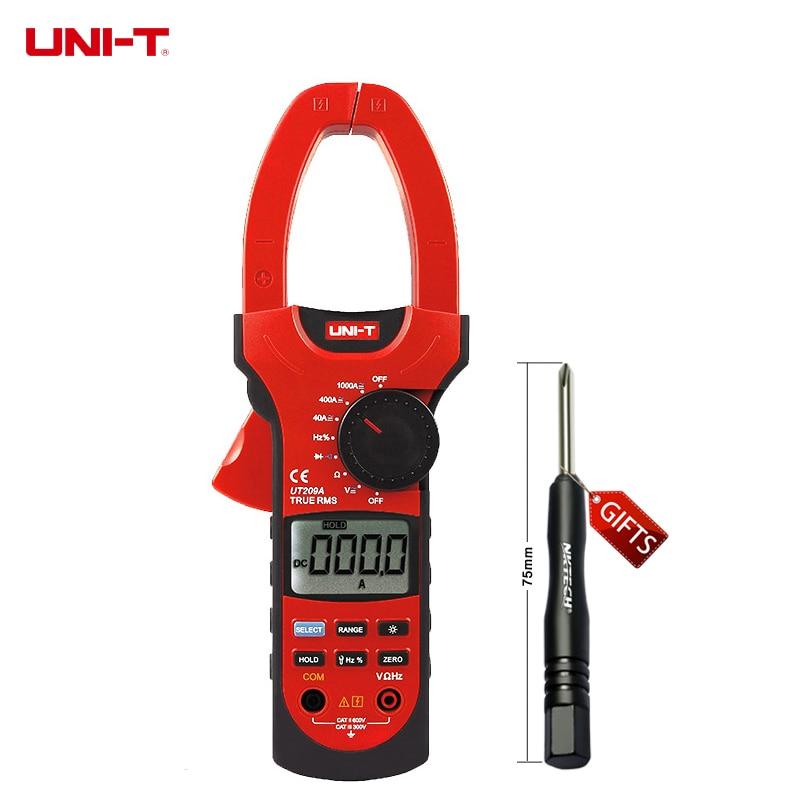 UNI-T UT209A LCD Digital Clamp Multimeter True RMS AC/DC V A Res Freq Temp  gB0639 мультиметр uni t uni t ut71b alicate amperimetro ac dc