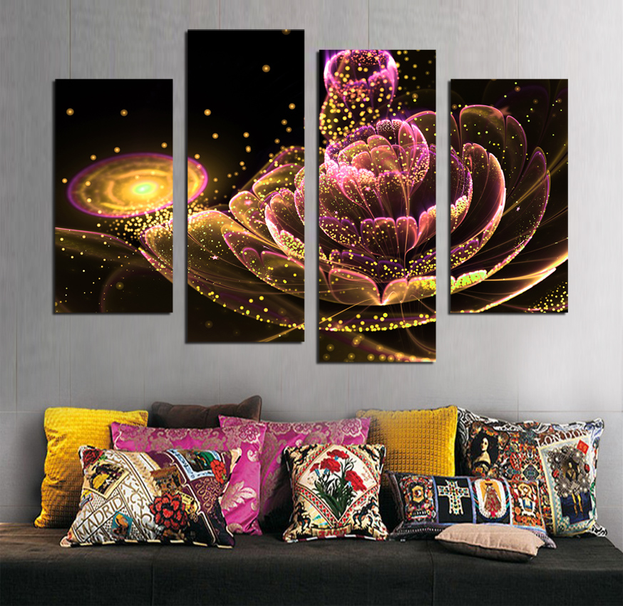4 PCS Toile Peinture Glod Fleur e Peintures Pour Salon Une Telle Beauté Image Sur Le Mur Toile Imprimée Sans Cadre F1880 - 4