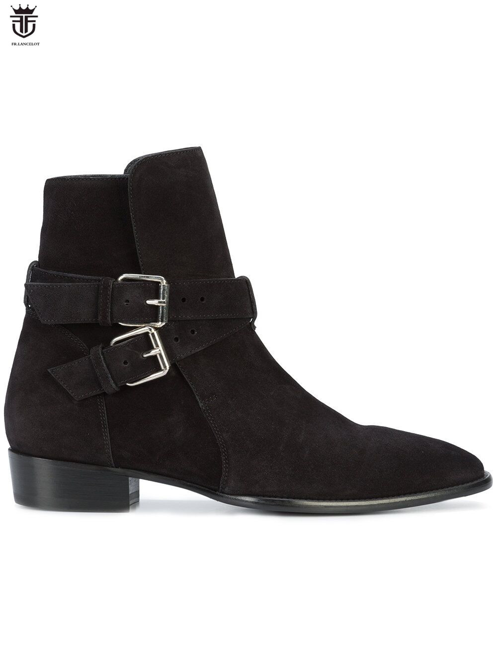 FR.LANCELOT 2018 Ankle Boots High end suede leather boot British Style Men buckle Short Boots slip on casual men