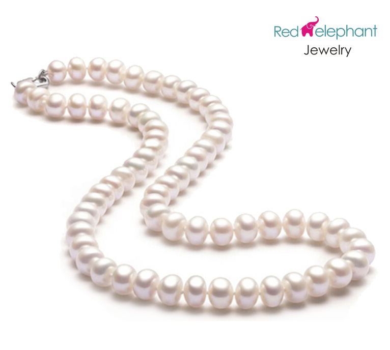 Free shopping! 8-9mm semi-round natural Akoya pearl necklace for women fashion