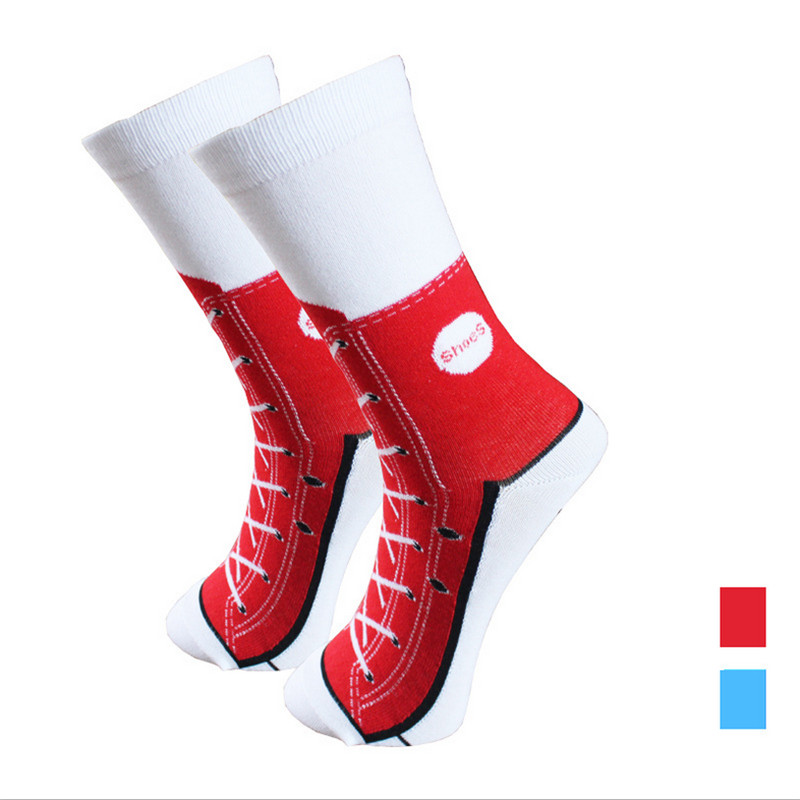 Red/Blue Canvas Shoes Pattern EU&USA Mens Fashion High Quality Cotton Knitted Casual Socks Deodorization Socks Men