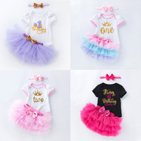 Baby Girls Birthday Outfits Dresses for 1st First Birthday Party Newborn Romper Headband Christening Tutu Dress 3 Pcs Suit Gifts