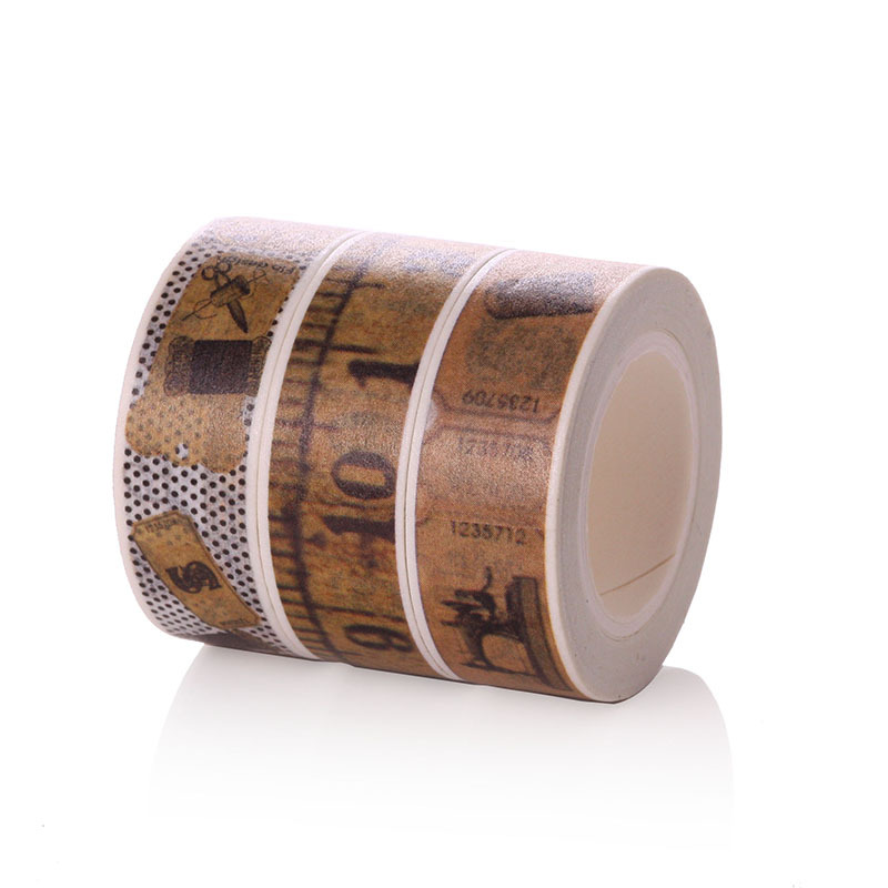 A single 15mm Wide Japanese Washi Masking Tape in Beautiful Retro Ruler &Sewing Machine Design Planner deco Adhesive Tape 3pcs 3pcs box ancient chinese famous painting calligraphy peotry retro wooden box decoration washi diy planner scrapbook masking tape