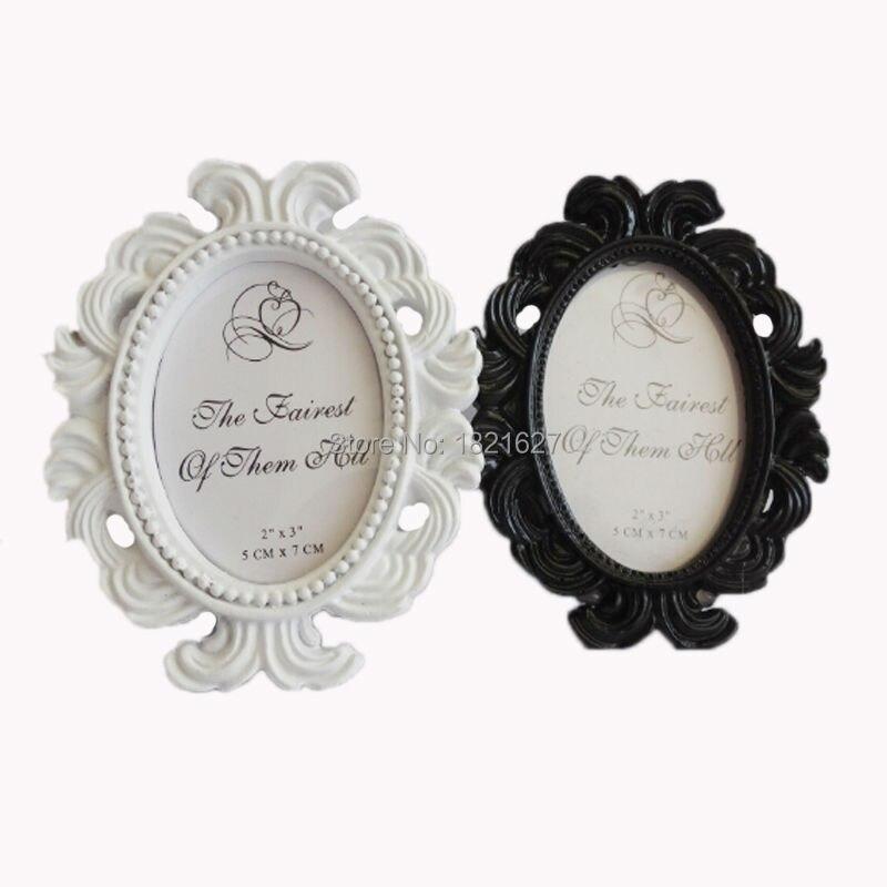 4 unids/lote Vintage Mini Blanco/Negro Resina Oval Barroco marco de ...