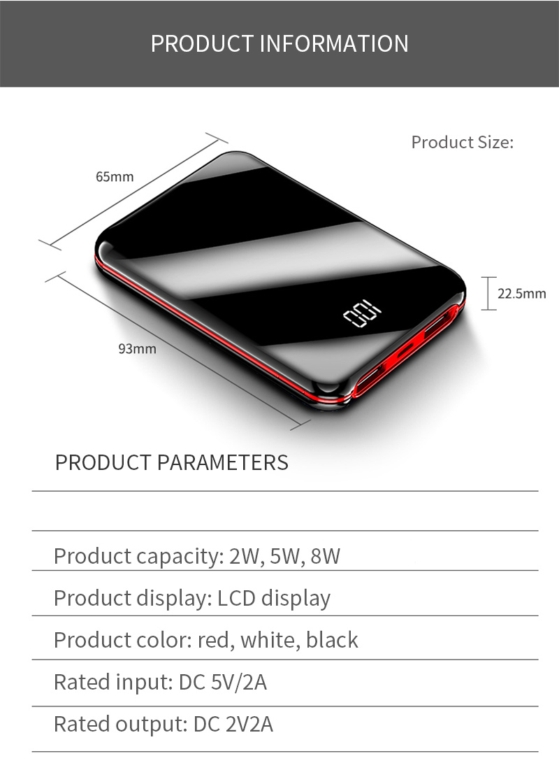 100mAh Power Bank External Battery Bank 8W Quick Charge Powerbank portable charger with Dual USB Output for Phone 23